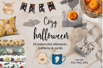 Watercolor Cozy Halloween Clipart. Holiday Patterns and Cards
