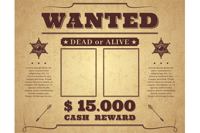 Wanted poster. Vintage western poster with empty place for crime photo