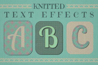 Knitted Text Effects is a set of Graphic Styles. Handcraft, Handmade.