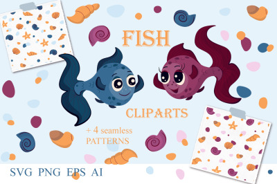 Fish cliparts and marine seamless patterns. Kids collection.