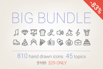 83% Off - Hand Drawn Icons Bundle