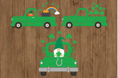 St Patrick's Truck SVG, Truck SVG Cut Files, Truck with Gnome Svg.