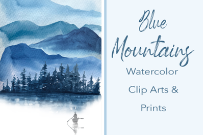 Blue Mountains Watercolor Clip Arts and Print