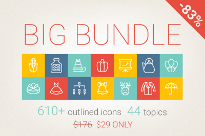 83% Off - Outlined Icons Big Bundle