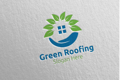 Real estate Green Roofing Logo 33