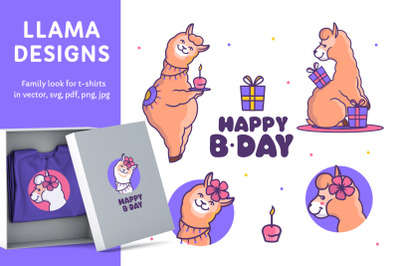Happy Llamas for cloth desings
