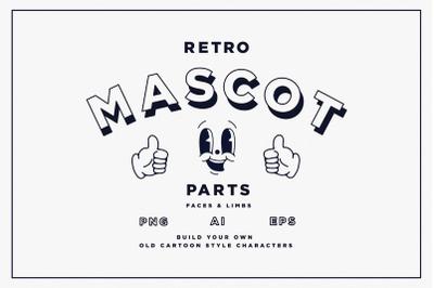 Retro Mascot Parts | Faces & Limbs