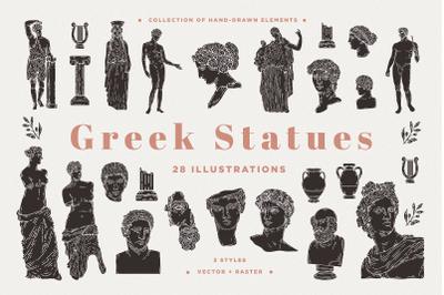 Greek Statues | Vector & Raster