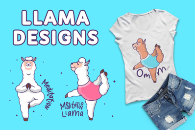 Llamas in yoga. T-shirt designs
