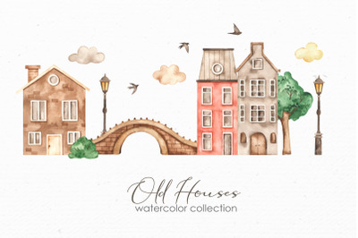 Old houses watercolor clipart