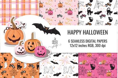 Halloween Seamless Pattern, Hand-drawn clipart