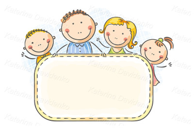 Happy family with two children with a blank frame