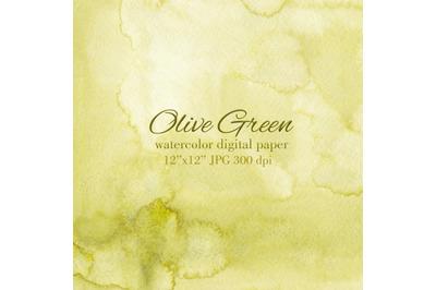 Olive green watercolor texture Wedding Invitation