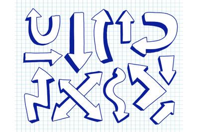 Arrow collection blue color.Hand drawn doodle.