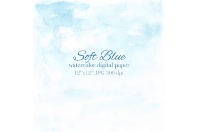 Soft blue watercolor texture Blue sky invitation background
