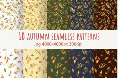 Autumn plants.Collection of watercolor seamless patterns