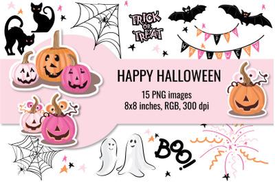 Cute Halloween Clipart, Pink Halloween Clipart
