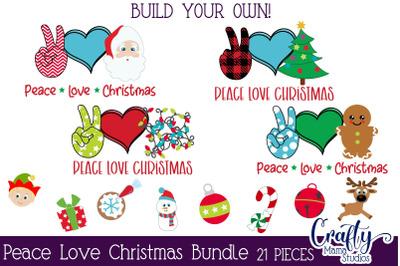 Christmas Svg, Peace Love Christmas Svg, Buffalo Plaid Kit