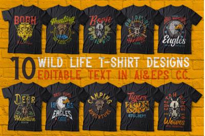 Wild Animals 10 T-shirt Designs