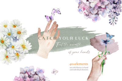 CATCH YOUR LUCK IN YOUR HANDS-watercolor compositions of bouquets set