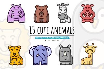 15 cute animals set