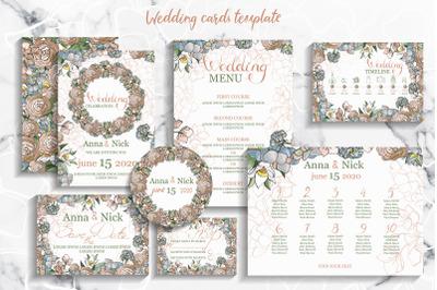 Pastel Wedding Invitation Cards Templates
