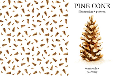 Pine cone watercolor illustration + seamless pattern