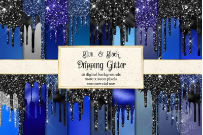 Blue and Black Dripping Glitter Digital Paper