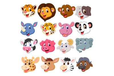 Set of Sixteen Cute Head Animals Bundle
