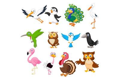 Set of twenty-three Cute Birds Animals