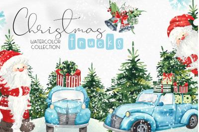 Watercolor Christmas trucks