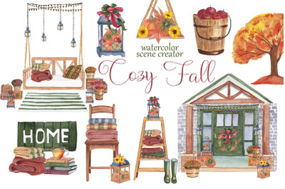 Cozy Fall. Watercolor scene creator. Autumn Boho Clipart