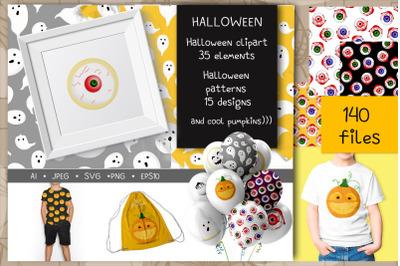 Halloween big set svg+jpeg+png+ai+eps10 patterns and clip art