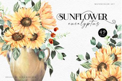Watercolor sunflower clipart Pumpkin png fall Eucalyptus
