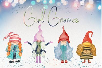 Girl Gnomes Watercolor Clip Art Set