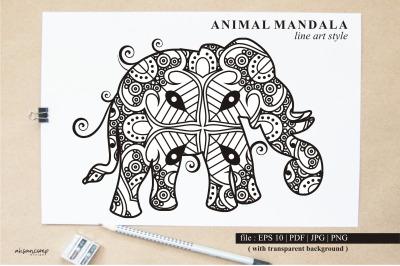 Elephant Mandala Vector Line Art Style