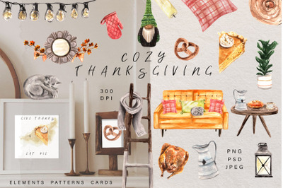 Cozy Thanksgiving Watercolor Kit. Patterns and Holiday Cards