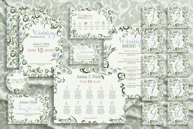 Green Wedding Invitation Cards Templates