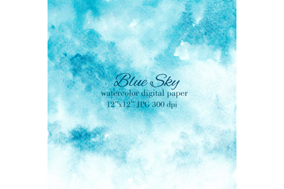 Blue sky stain wash watercolor texture background