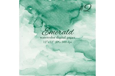Emerald green watercolor texture Invitation background