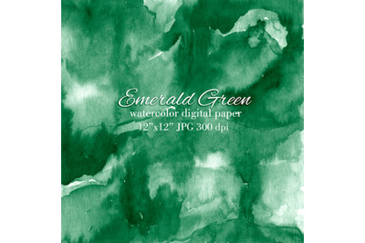 Saturated emerald green watercolor texture background