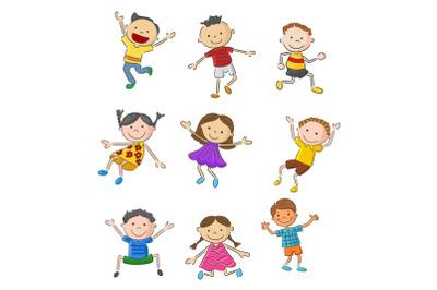 Set of Twenty-six Cartoon Little Kids Character