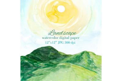 Landscape painting watercolor texture background