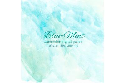 Blue Mint watercolor texture Blue Turquoise background
