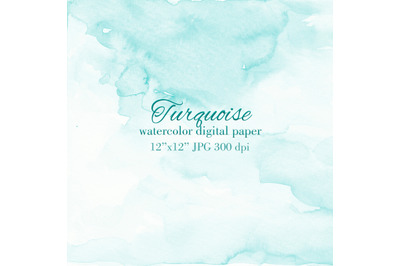 Turquoise watercolor texture Light blue background