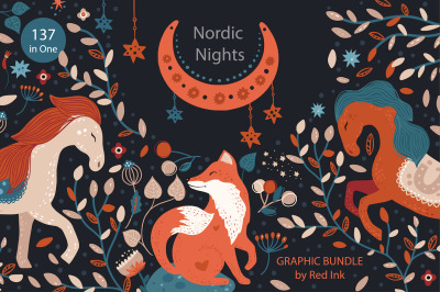 Nordic Nights. Boho Graphic Bundle.