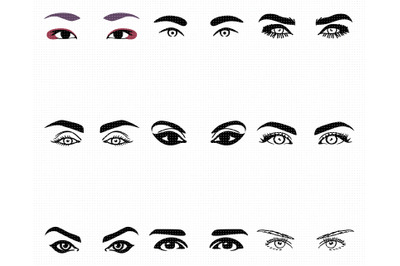 women's eyes SVG, eyelashes PNG, DXF, clipart, EPS, vector cut file