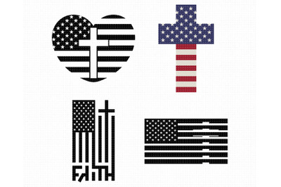 american flag SVG, cross PNG, US flag DXF, clipart, EPS, vector