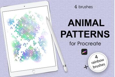 Animal pattern brushes + rainbow brushes