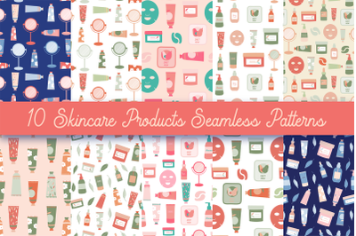 Skincare Products Seamless Repeat Pattern